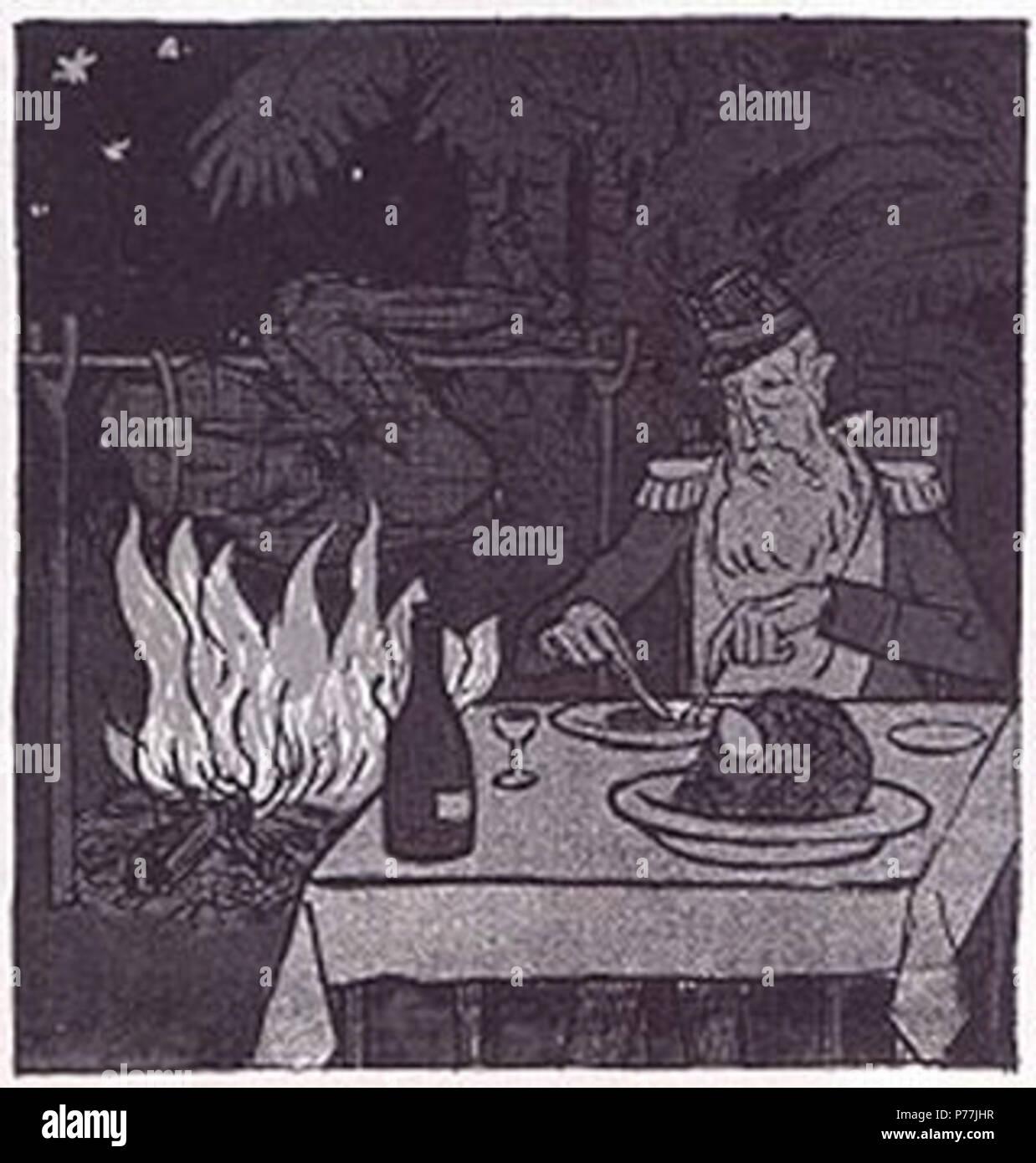 Deutsch: Vergleich der Kolonialmächte: So kolonisiert der Deutsche... der Engländer... so der Franzose... und so der Belgier, In: Simplicissimus Luxusausgabe Spezial-Nummer Kolonien 1904, Karikatur von Theodor Heine . 1904 12 So kolonisiert der Belgier Simplicissimus 1904 - Stock Image
