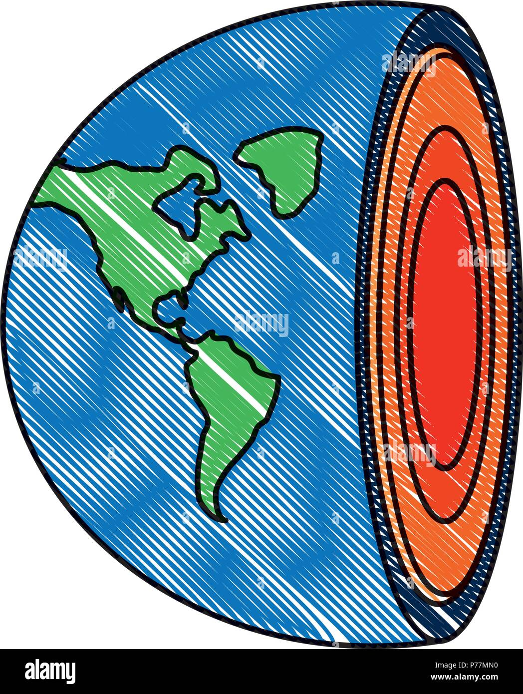 Earth core. Center of planet icon over white background, vector illustration - Stock Vector
