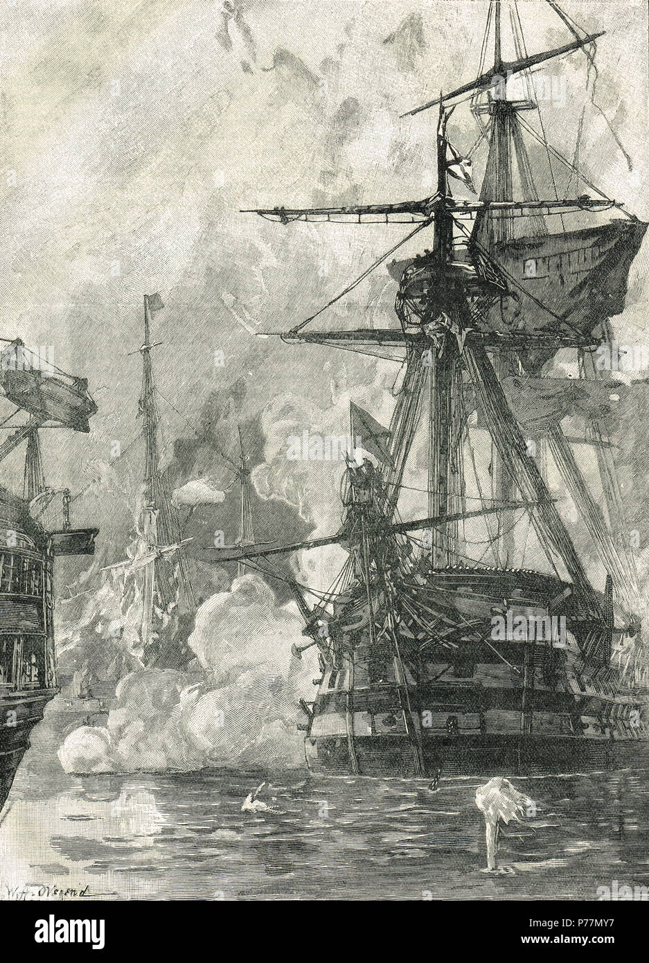 Russian attack on Sinop harbour, Turkey, 30 November 1853.  The Battle of Sinop, or the Battle of Sinope.  A Russian naval victory over the Ottoman Empire during the Crimean War that was a contributing factor to bringing France and Great Britain into the conflict. - Stock Image