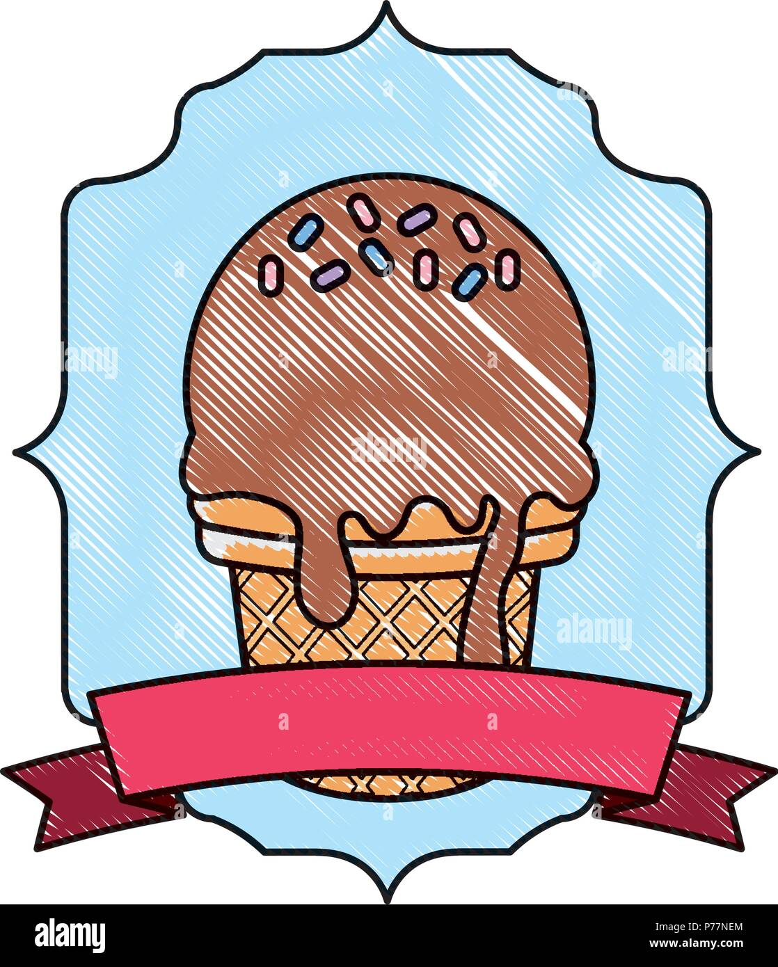 Vintage frame with ice cream with sprinkles and decorative ribbon over white background, vector illustration - Stock Image