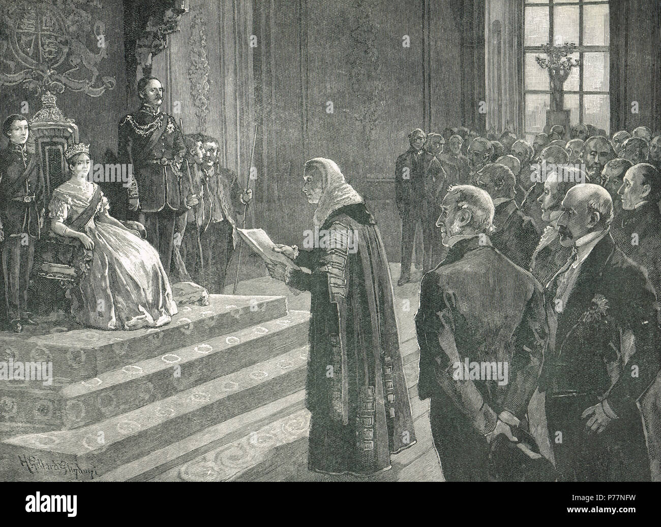 Patriotic address to Queen Victoria, on the Eve of the Crimean War, 3 April 1853.  An address recording Russian transgressions from both houses of parliament. - Stock Image
