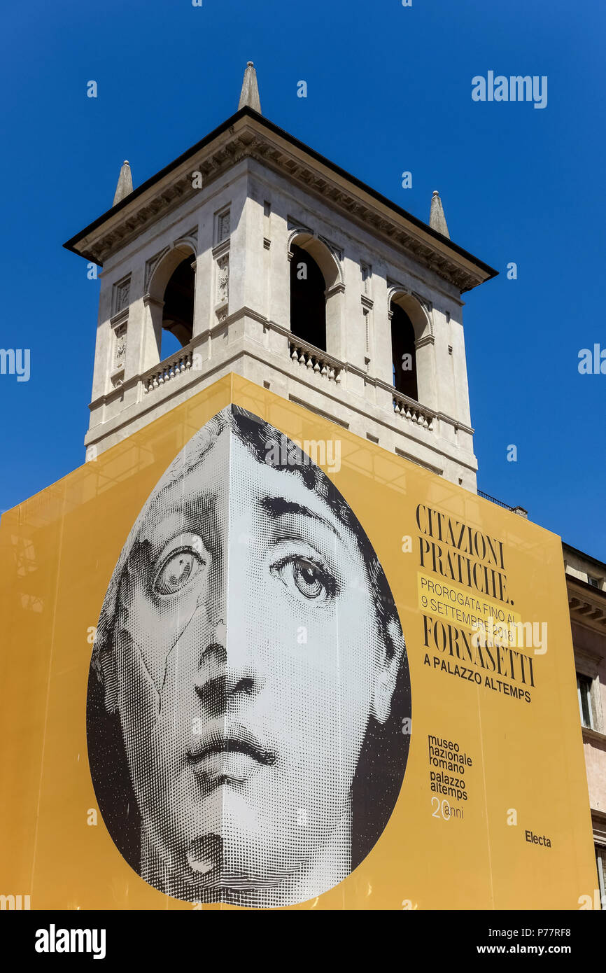 Billboard of Practical Quotes, Fornasetti ironic juxtaposition exhibition at National Roman Museum Palazzo Altemps. Rome, Italy, Europe. Copy space. - Stock Image