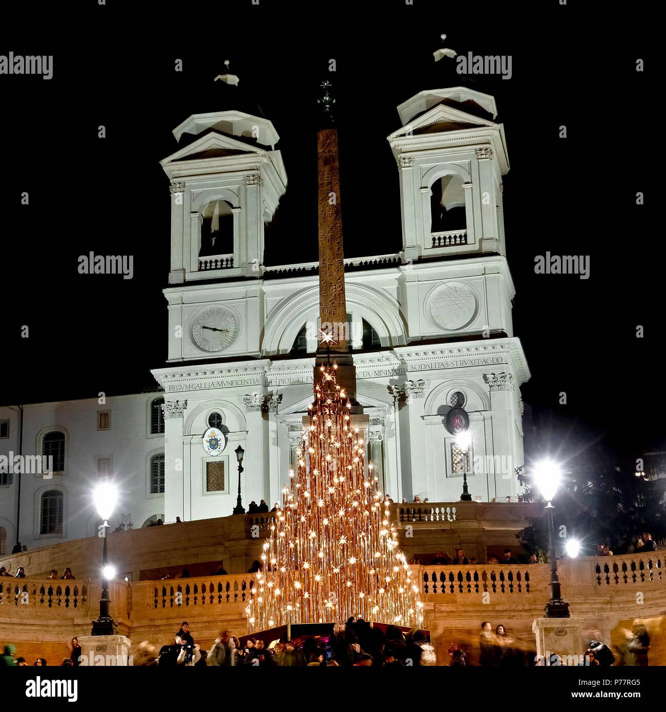 Christmas led tree, at the Spanish Steps Square, Trinità dei Monti, Piazza di Spagna. Christmastime, winter season. Rome, Italy, Europe. - Stock Image