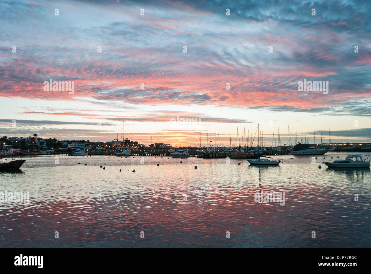 Stunning Sunset at Punta del Este Port, Uruguay. - Stock Image