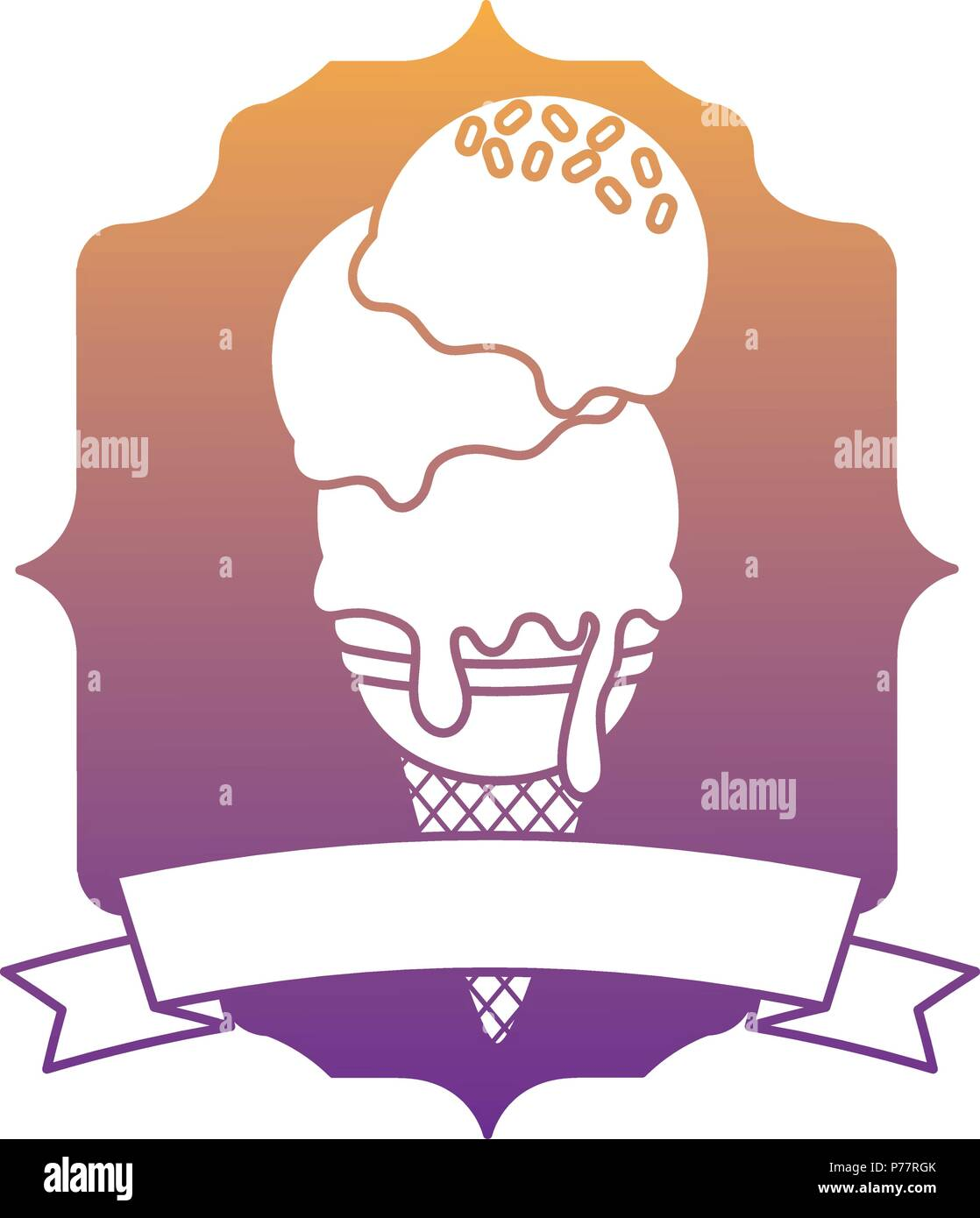 Vintage frame with ice cream and decorative ribbon over white background, vector illustration - Stock Image