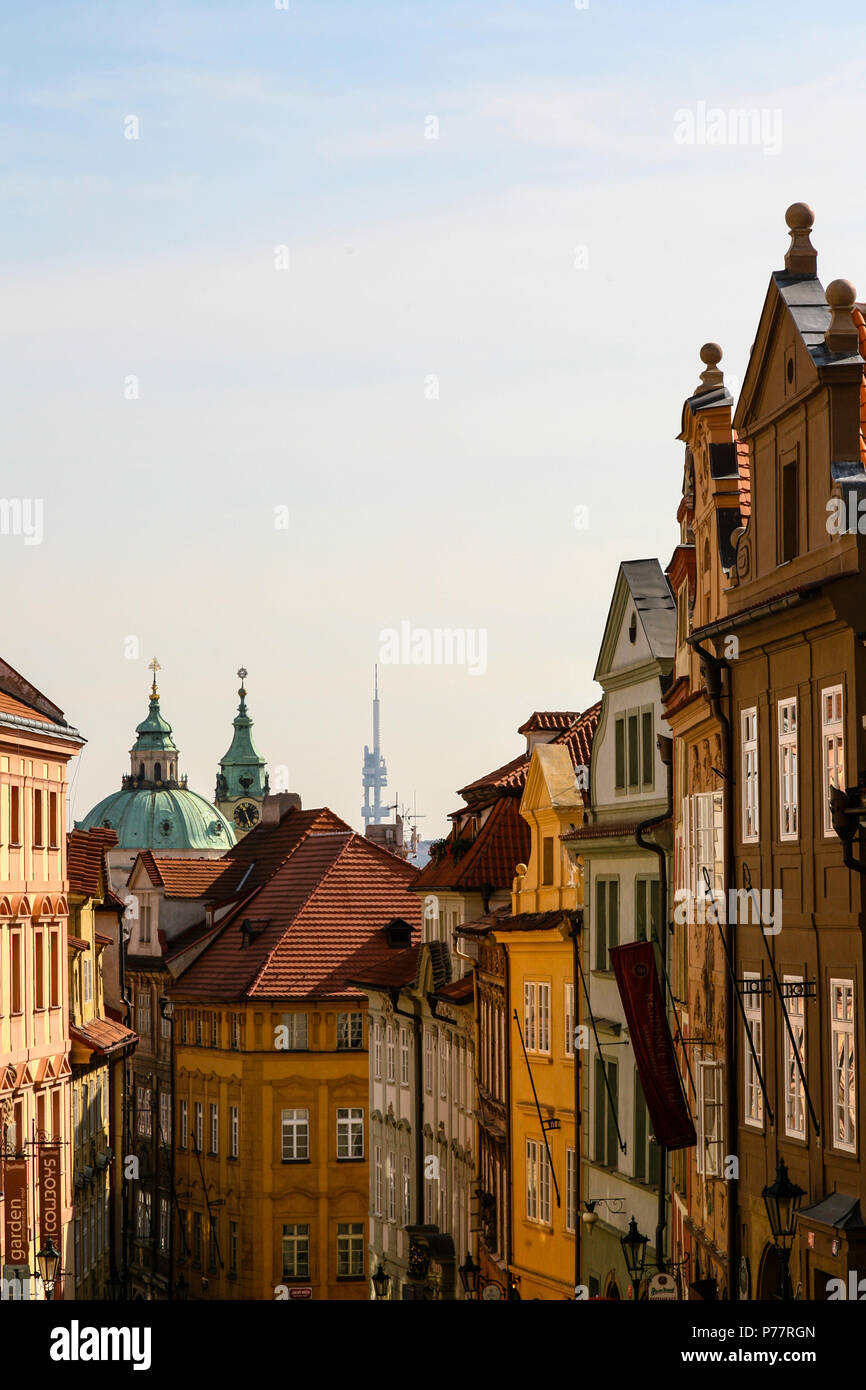 A glimpse of Prague's Old Town architectural houses including Gothic and Baroque styles, Czech Republic, Europe. Stock Photo