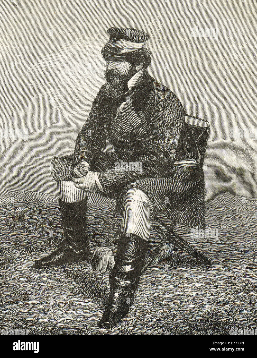 Sir William Howard Russell, Irish reporter with The Times, considered one of the first modern war correspondents, covering the Crimean War - Stock Image