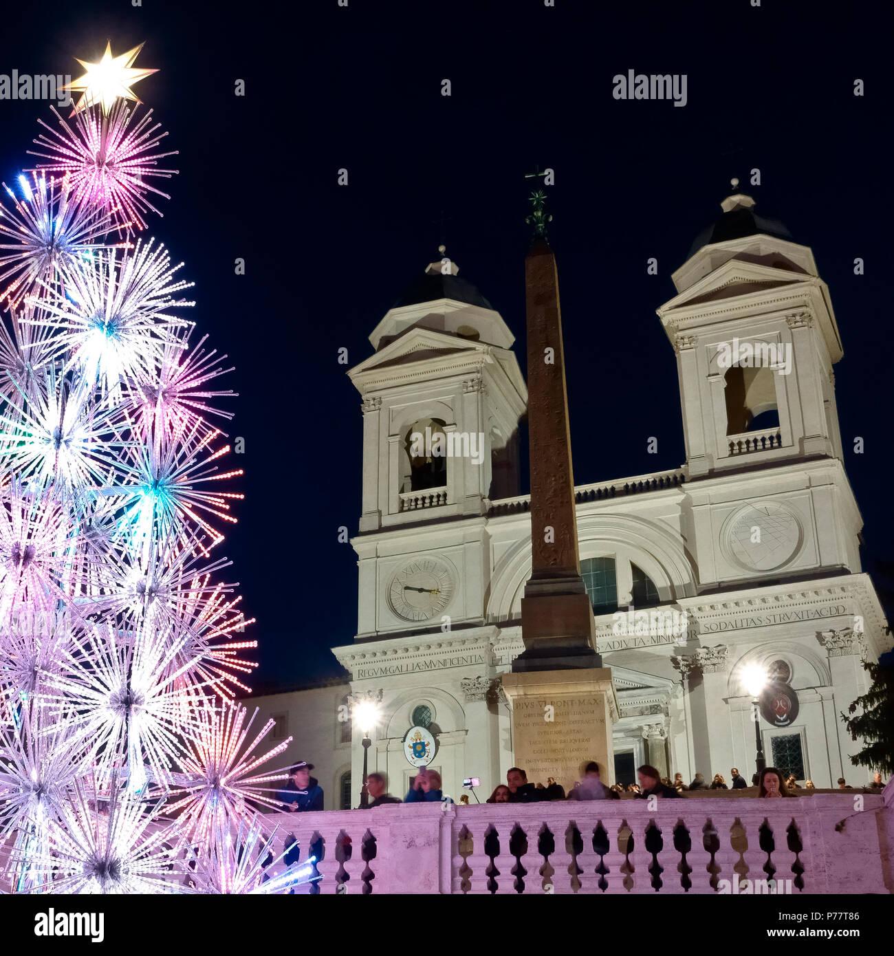 Christmas led tree, at the Spanish Steps Square, Trinità dei Monti, Piazza di Spagna. Christmastime, winter season. Rome, Italy, Europe. Close up. - Stock Image