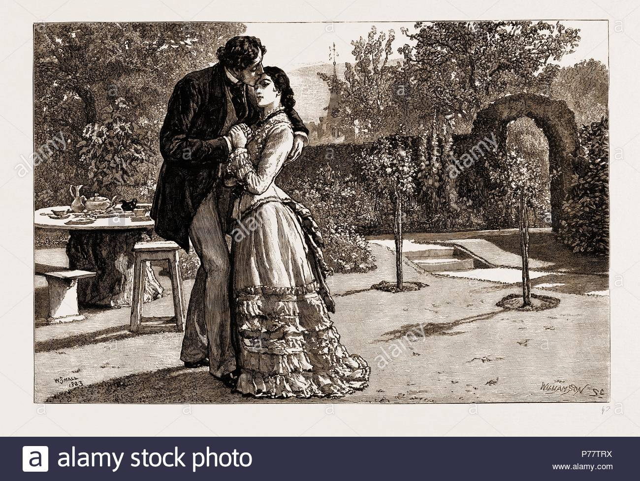THIRLBY HALL, DRAWN BY WILLIAM SMALL, 1883; Yielding to an uncontrollable impulse, I caught her suddenly in my arms, and kissed her forehead. - Stock Image