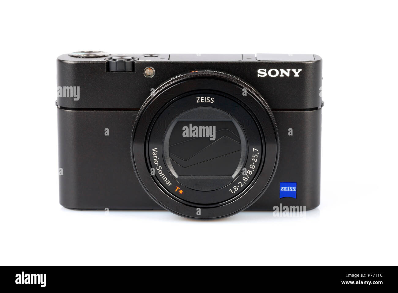 Advanced compact camera Sony DSC-RX100 M5 isolated on white. One of the best high-end compact cameras. Stock Photo