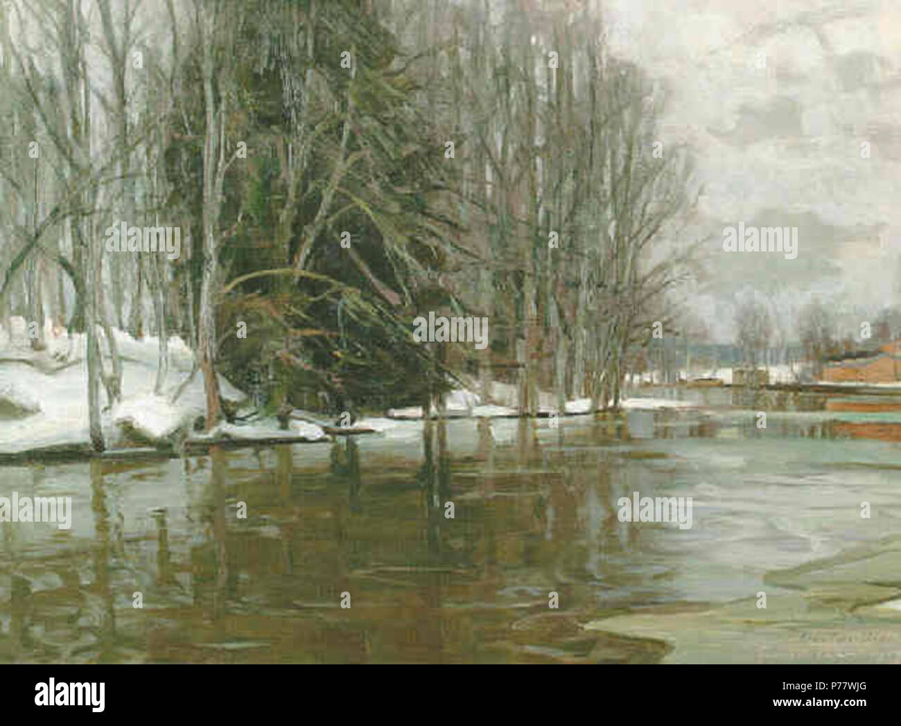 .  Suomi: Jokimaisema Mustiosta  1917 55 Riversidemustio Stock Photo