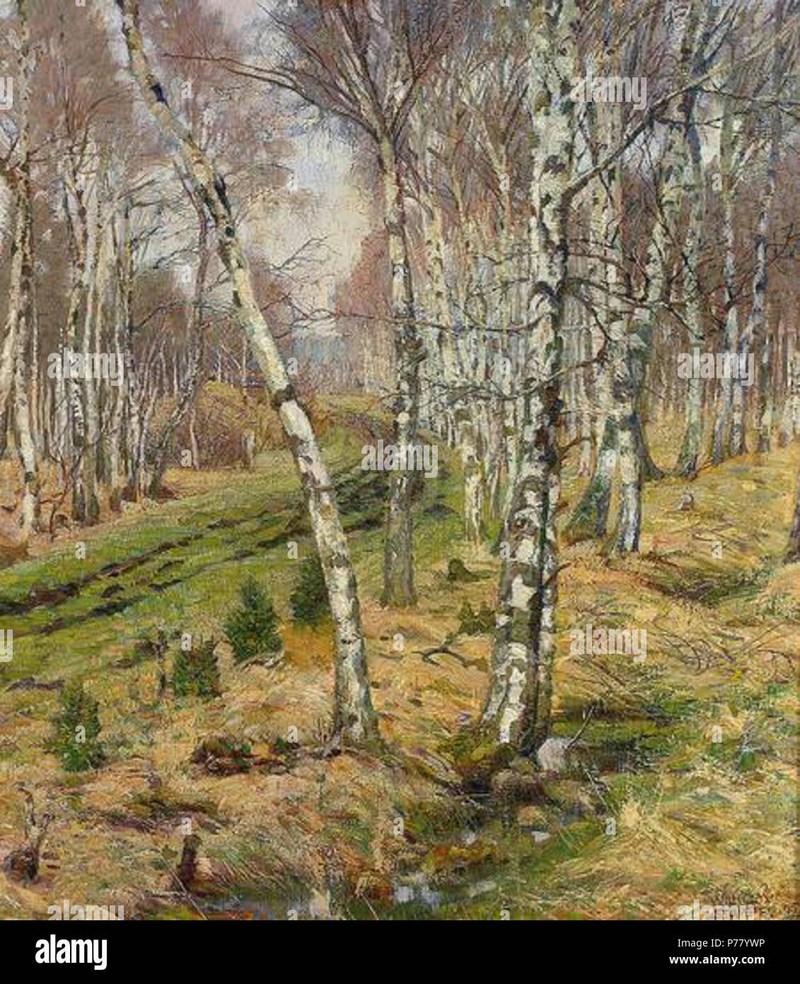 Deutsch: Wilhelm Stumpf: Birken im Herbst, Öl/Lwd., 71 x 65 cm, 1905 . 1905 69 WilhelmStumpfBirkenimHerbst Stock Photo
