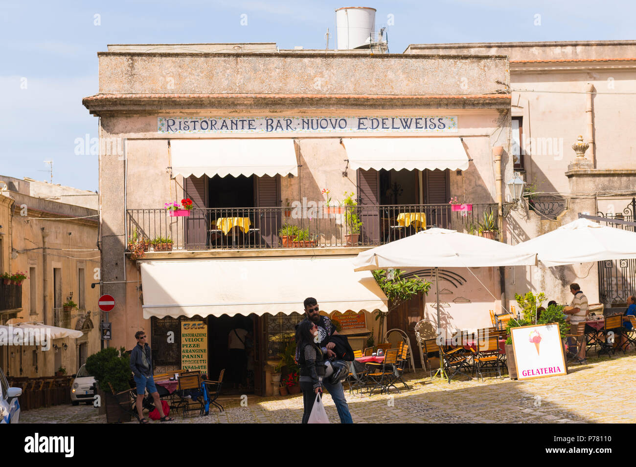 Italy Sicily medieval walled town Erice on Monte San Giuliana cult Venus Erycina Ristorante Bar Nuovo Edelweiss gelateria pizza arranging panini - Stock Image