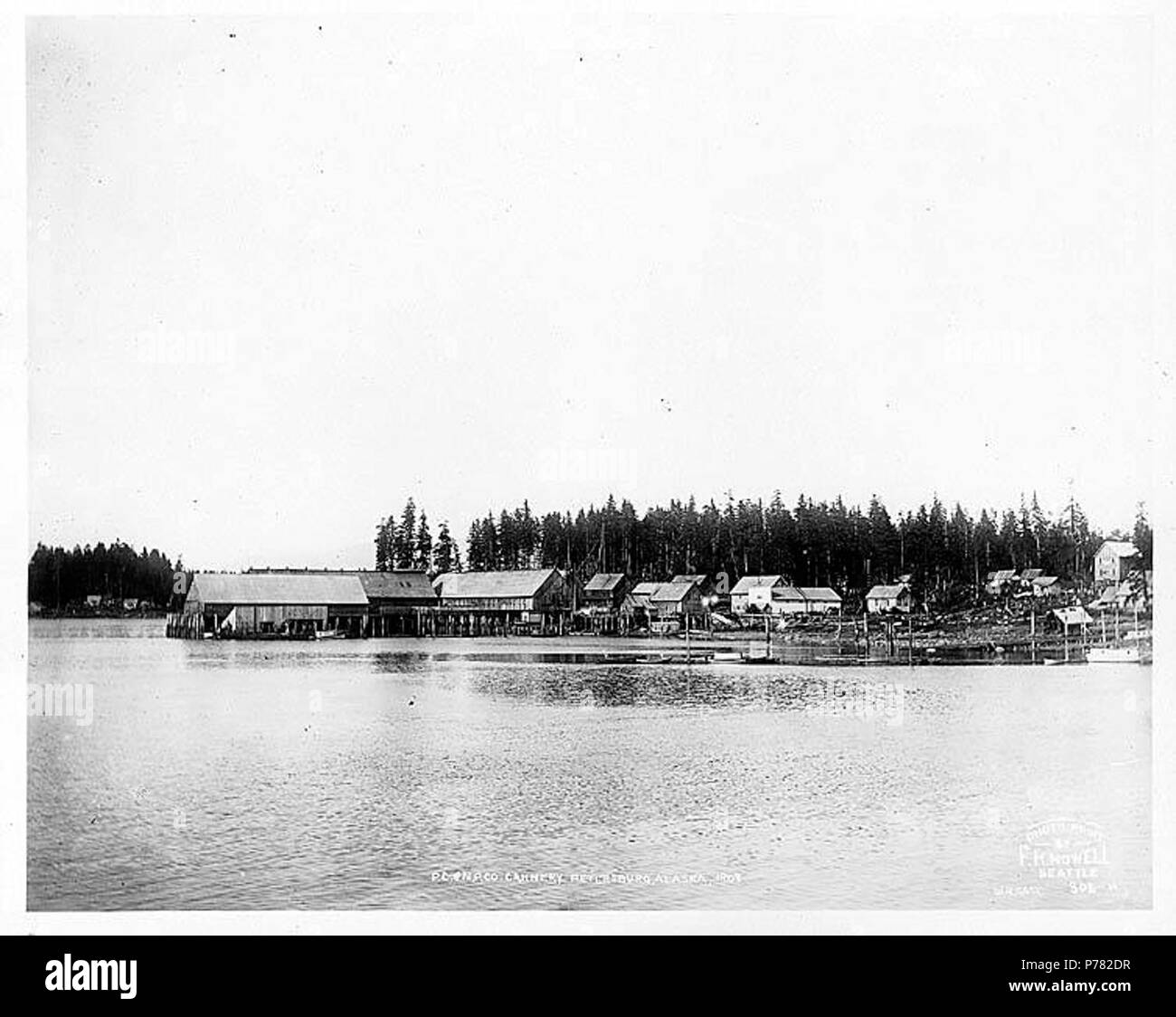 . English: Pacific Coast and Norway Packing Co. Cannery, Petersburg, 1908 . English: Caption on image: P.C. & N.P. Co. Cannery, Petersburg, Alaska, 1908. Photo Print by F.H. Nowell, Seattle. W.H. Case. 302-N Petersburg is located on the north end of Kitkof Island, 32 miles northwest of Wrangell. Known as the Little Norway of Alaska, Petersburg was inhabited largely by Scandinavians whose chief occupation was fishing, canning, lumbering and fur farming. The town grew up around a salmon cannery and a sawmill built in 1897-1899. A post office was established in 1900. (pg. 751) Notes from Donald O - Stock Image