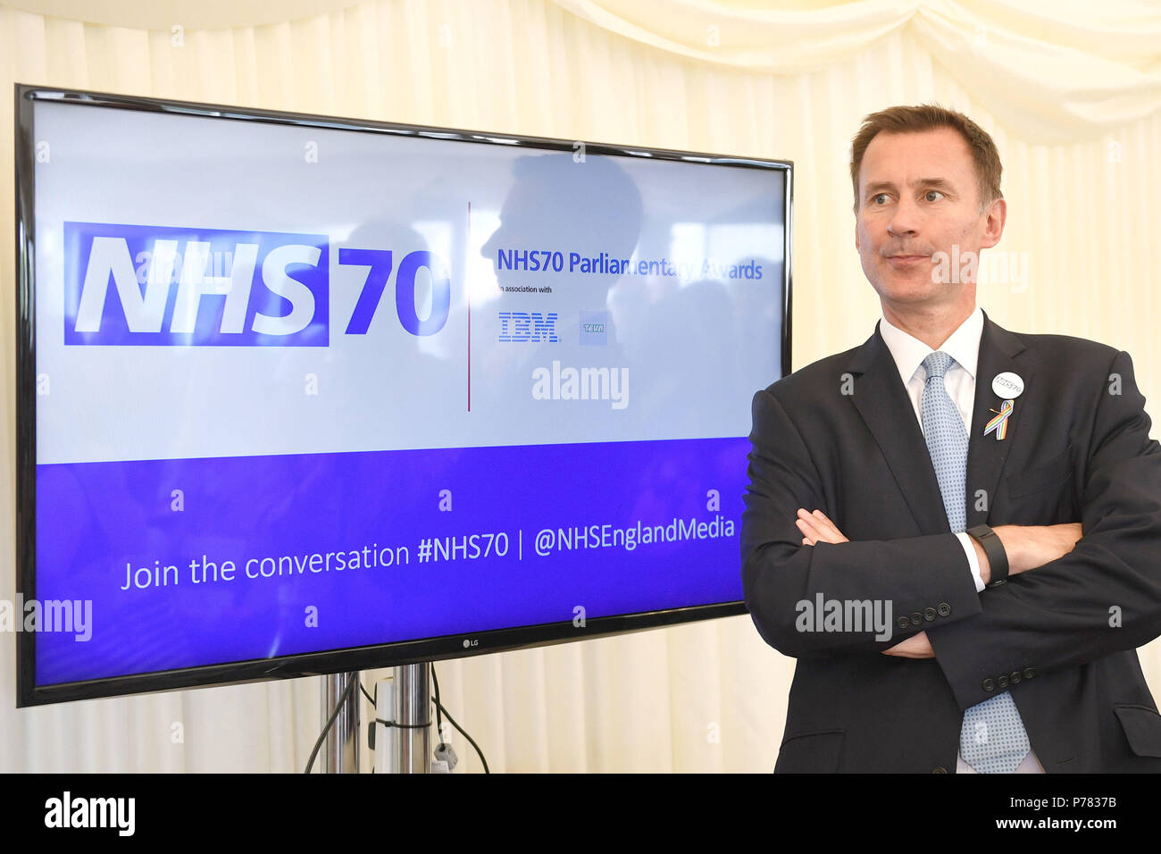 Health Secretary Jeremy Hunt attends the NHS70 parliamentary awards for the 70th anniversary of the NHS at the House of Commons in Westminster, London. - Stock Image