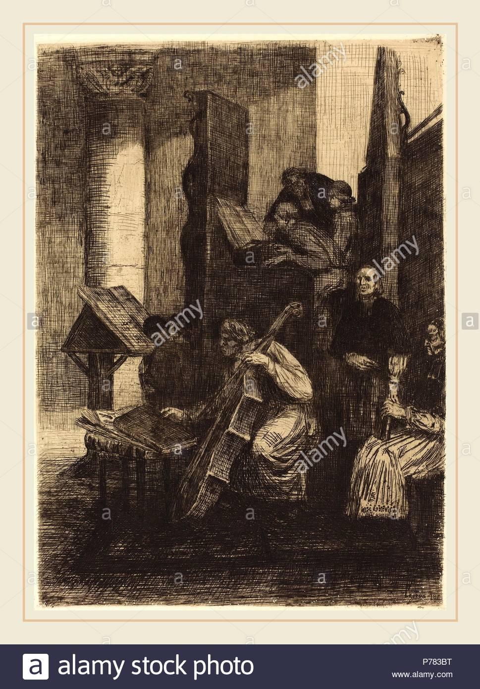Alphonse Legros (French, 1837-1911), Choir in a Spanish Church (Le choeur d'une eglise espagnole), 1860, etching. - Stock Image