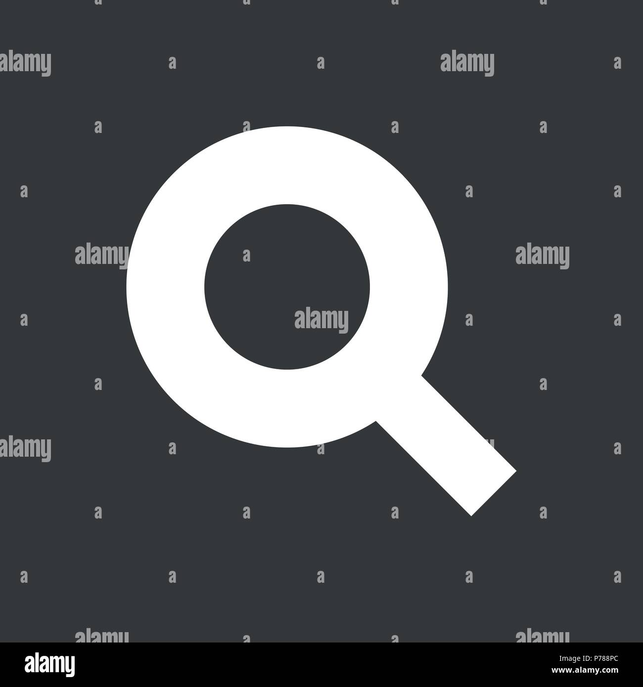 Search icon isolated on black background - vector iconic design. - Stock Image
