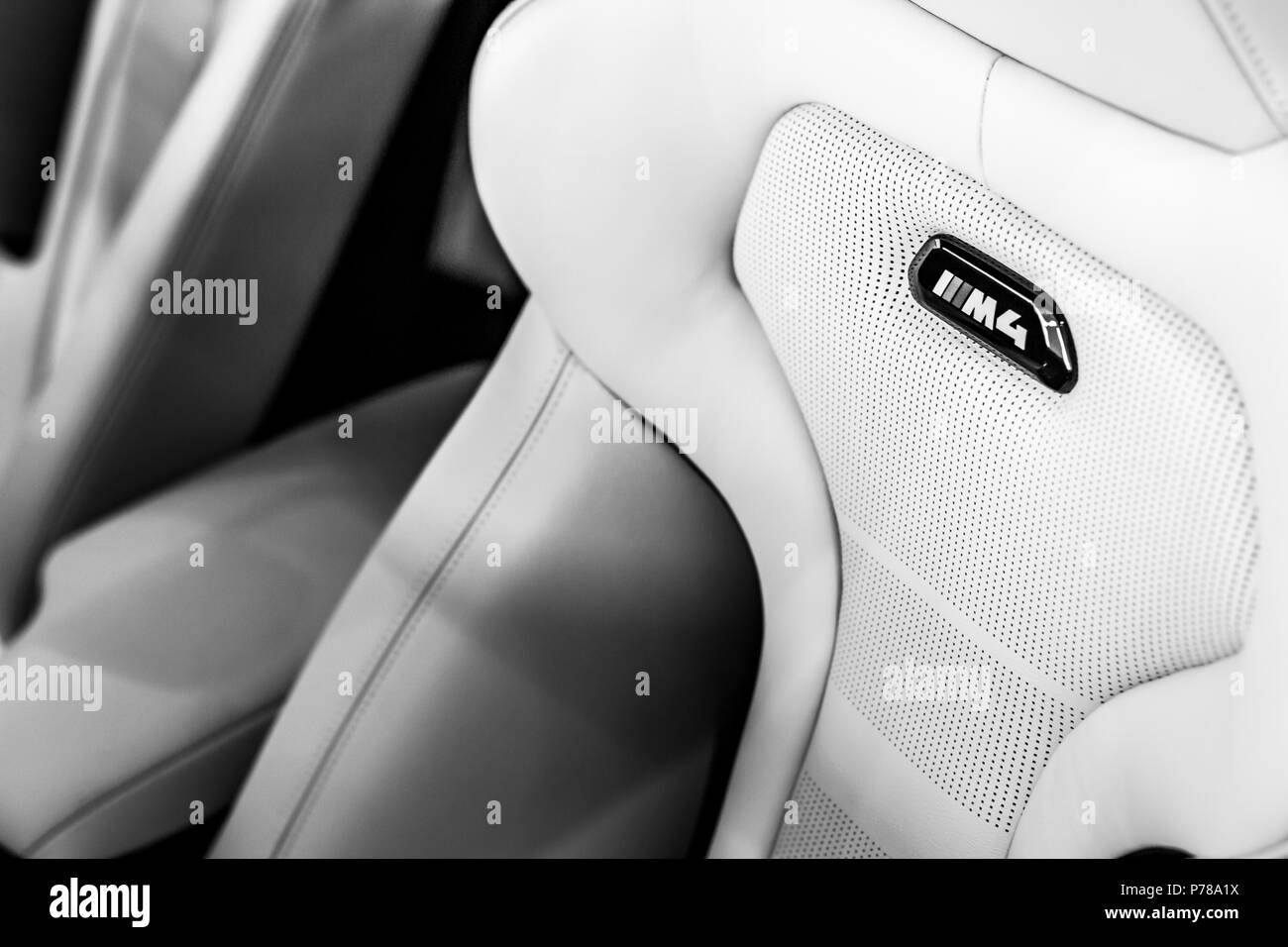 The seats of a BMW M4 - Stock Image