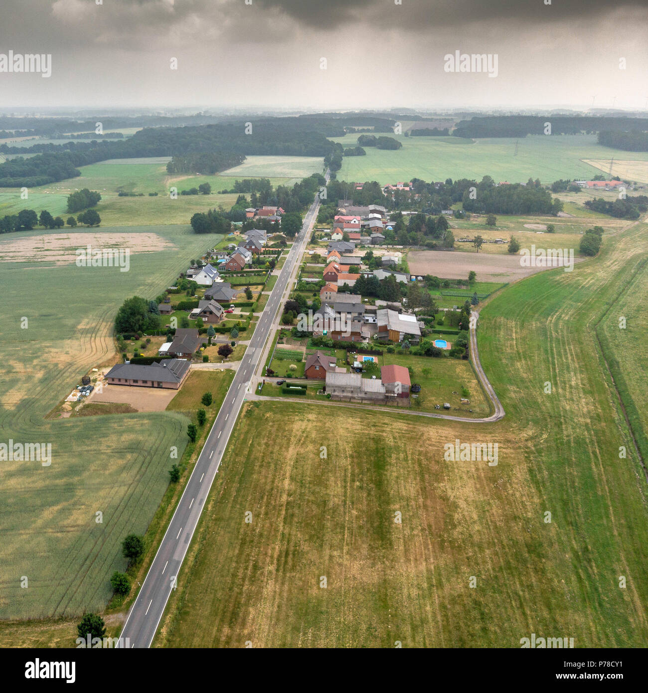 Aerial view of a village suburb in the rural area of Saxony-Anhalt, made with drone - Stock Image