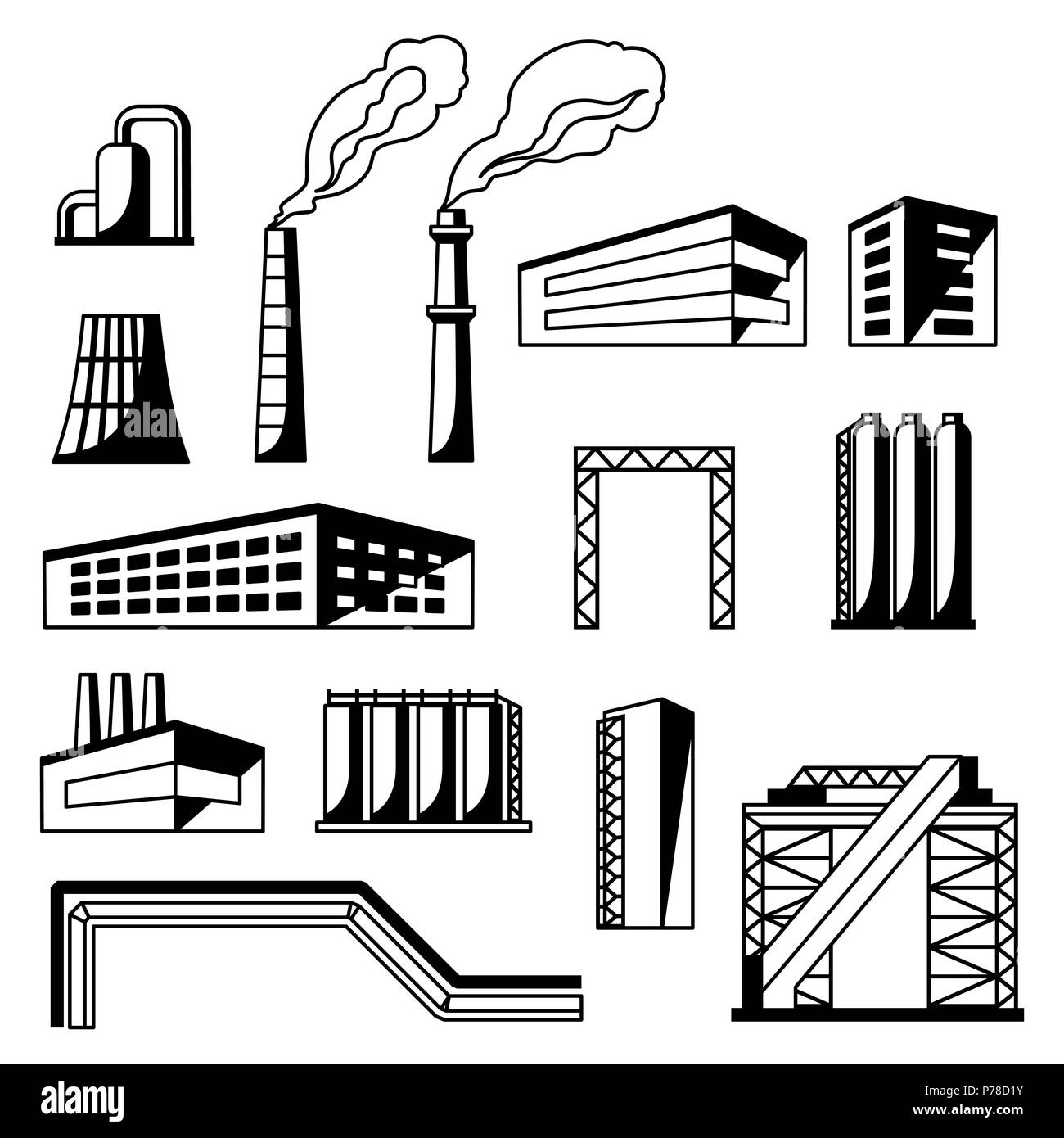 Industrial factory objects set. - Stock Image