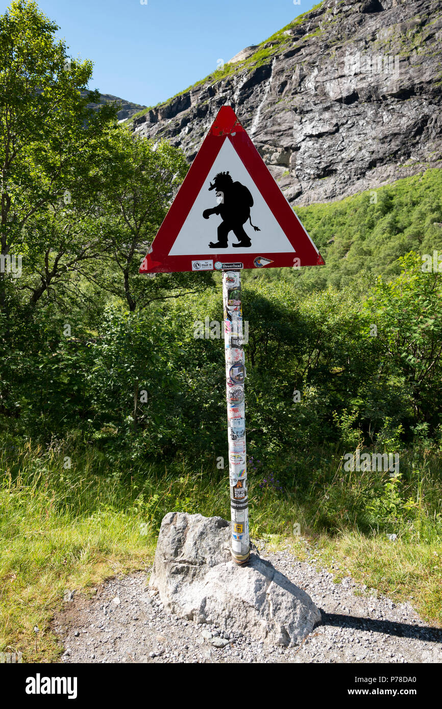 Troll sign on the Trollstigen Pass, Norway - Stock Image