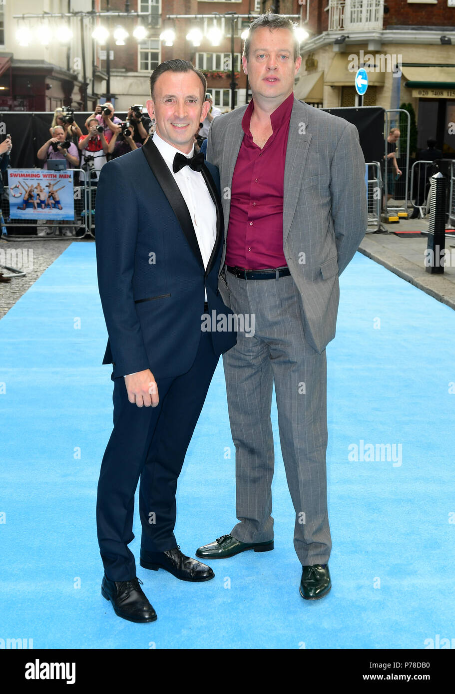 Chris Jepson and Ronan Daly attending the Swimming with Men premiere ...