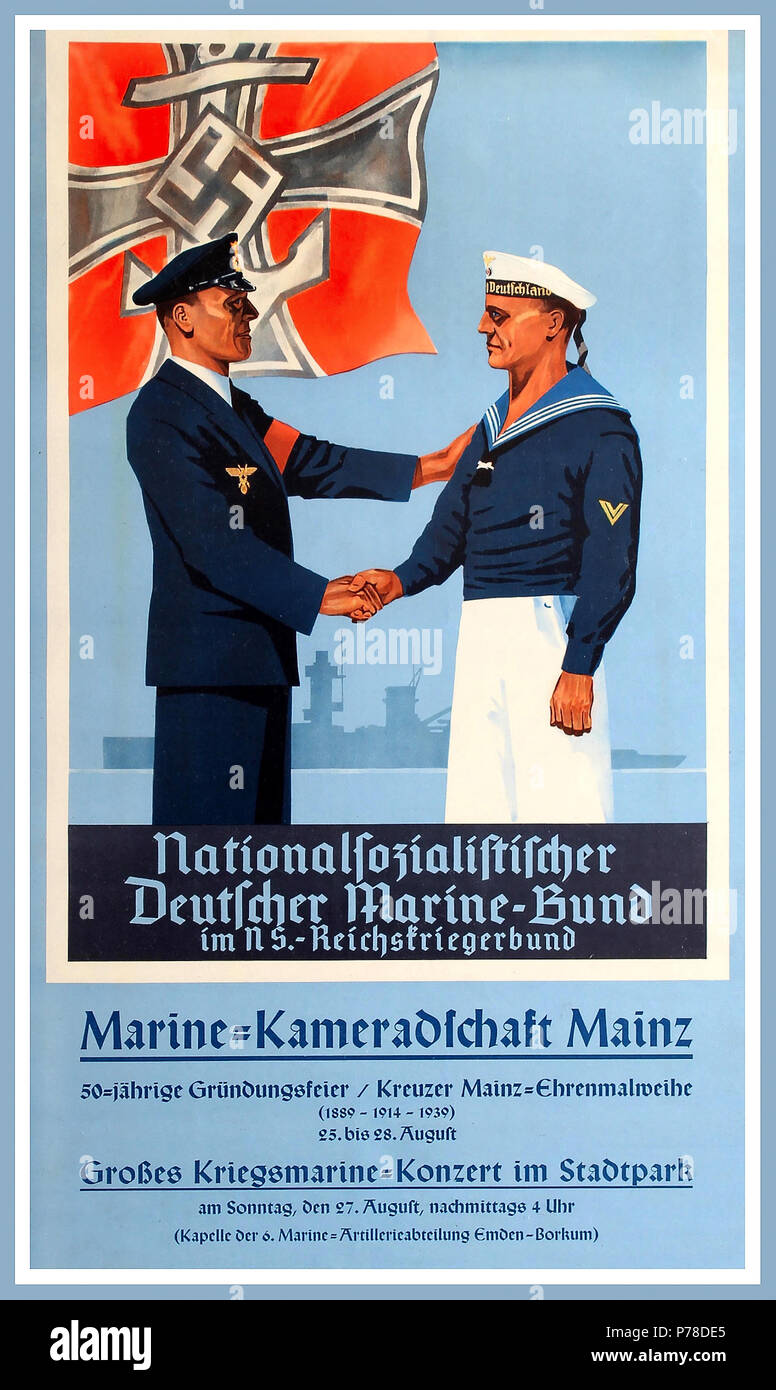 Vintage Kriegsmarine World War Two German Naval propaganda poster: Nationalfozialiftifcher - Deutcher Marine-Bund - im NS. - Reichsfriegerbund.Deutcher Marine-Bund  founded on March 14, 1891 as its precursor, the League of German Navy Associations in Kiel. Only active and former naval members of all ranks could become members. The care of the camaraderie, the exchange of ideas about the shared experiences and welfare facilities for the members were the focus. In 1926, the association of youth in the German Navy Bund was founded. Stock Photo