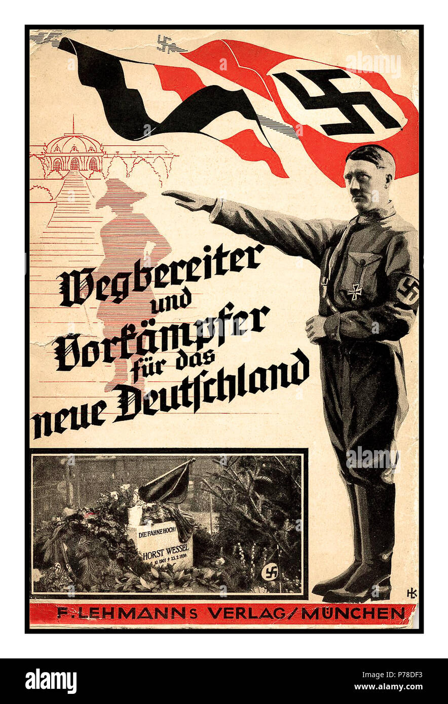 Vintage Propaganda Nazi Postcard featuring Adolf Hitler in uniform with Swastika Flag and inset grave image of Horst Wessel Horst Ludwig Georg Erich Wessel (9 October 1907 – 23 February 1930) was a murdered Berlin leader of the Nazi Party's 'stormtroopers' Forerunner and Trailblazer for the new Germany München, 1933 - Stock Image
