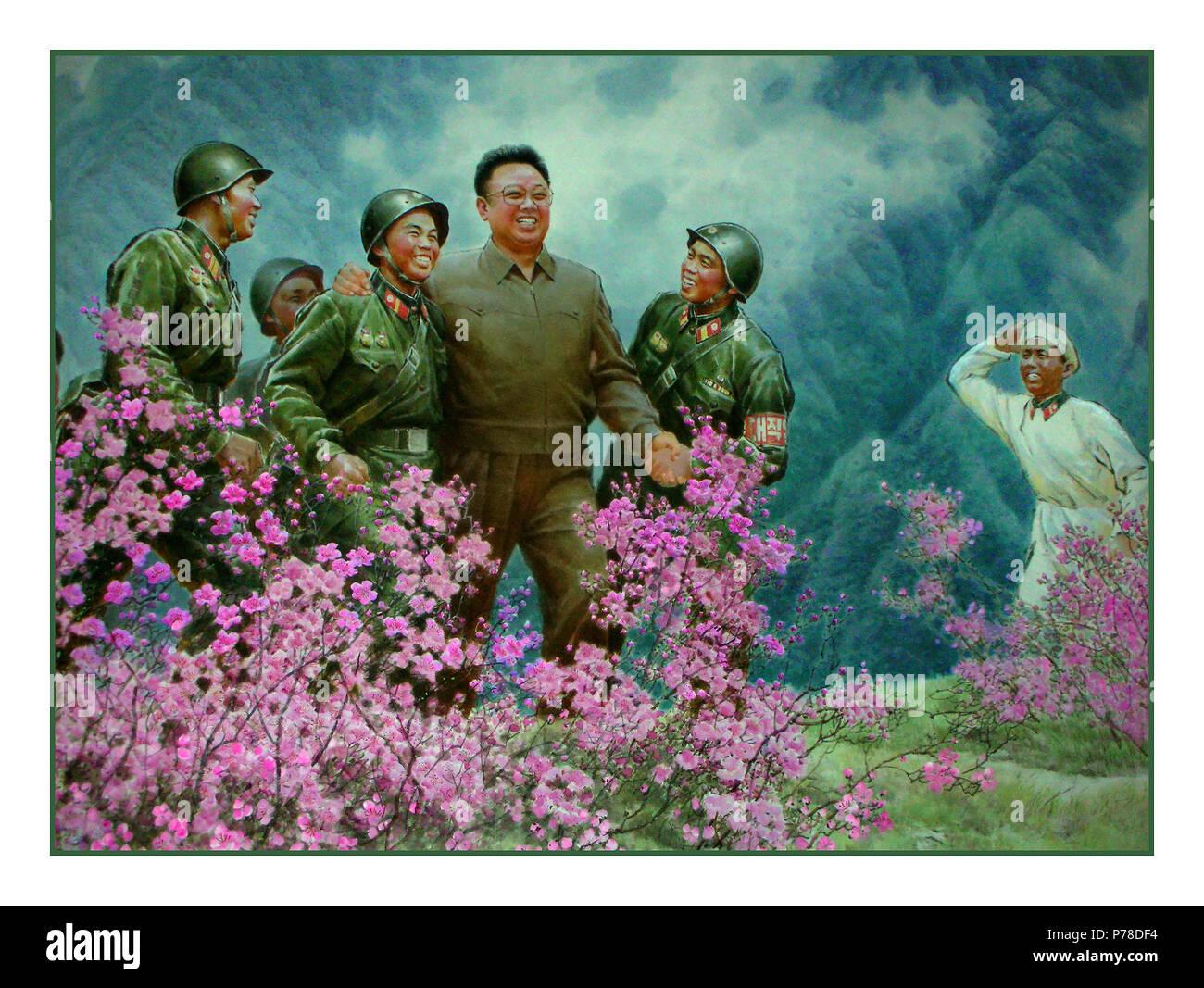1960's Propaganda Vintage Wall Mural of Kim Il Sung, Pyongyang, Democratic People's Republic of Korea, North Korea DPRK - Stock Image