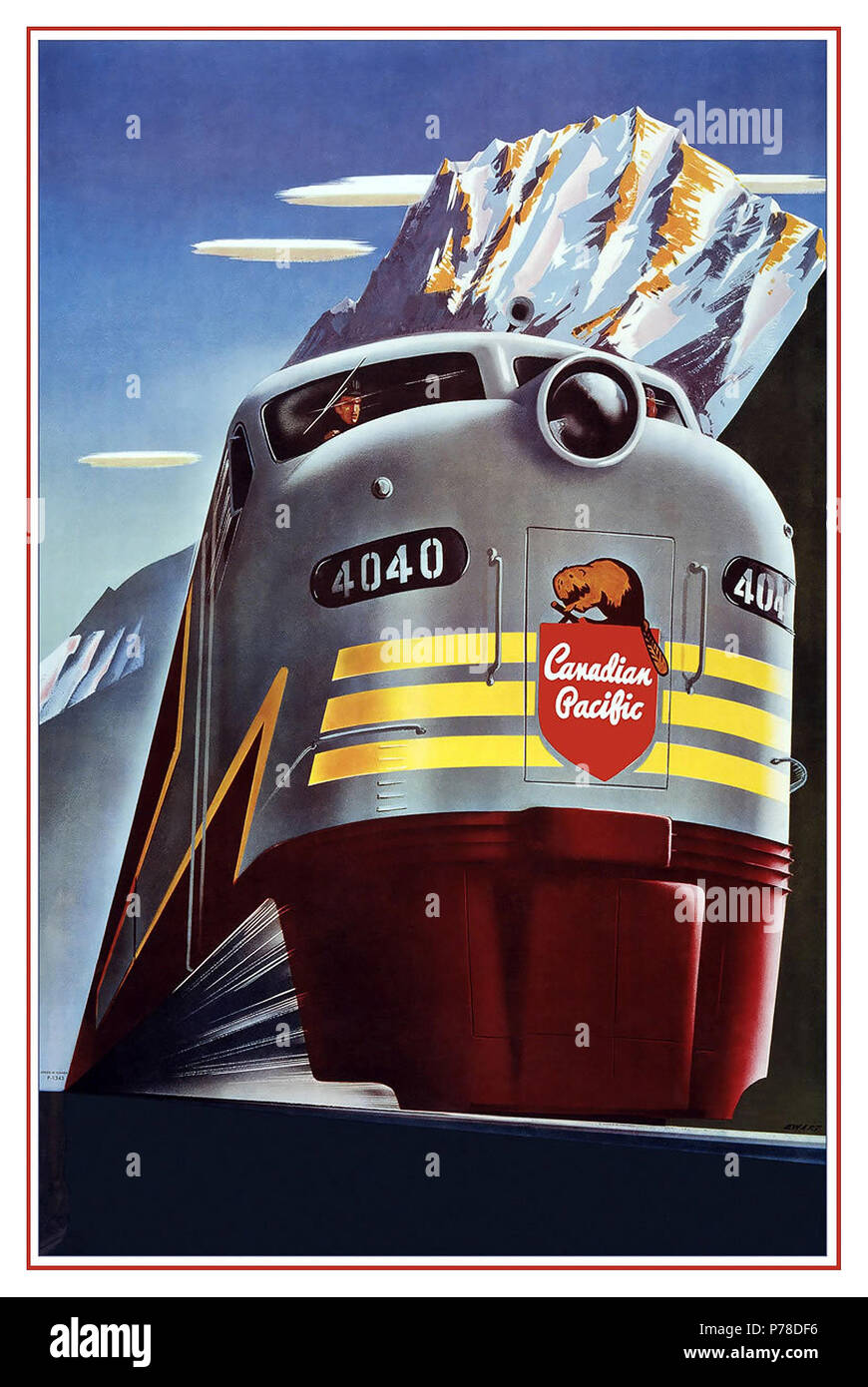 Vintage 1950's Rail Poster Graphic Art Canadian Pacific Railway Company - Diesel Locomotive Train - Logo Beaver Shield - Vintage Railroad Travel Poster by Peter Ewart c.1950 Advertisements Transportation Advertisements Railway Advertisements Canadian Pacific Railway Canadian Pacific Train - Stock Image