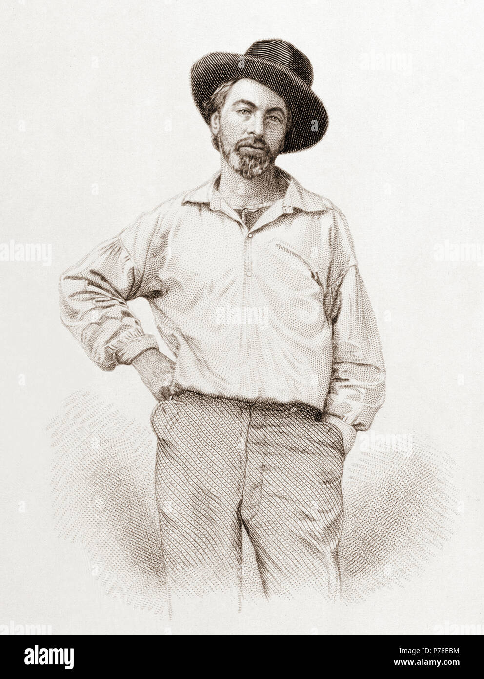 Walt Whitman (1819-1892), age 37, frontispiece to Leaves of grass, Fulton St., Brooklyn, N.Y., 1855, steel engraving by Samuel Hollyer from a lost daguerreotype by Gabriel Harrison. . July 1854 65 Walt Whitman, steel engraving, July 1854 - Stock Image