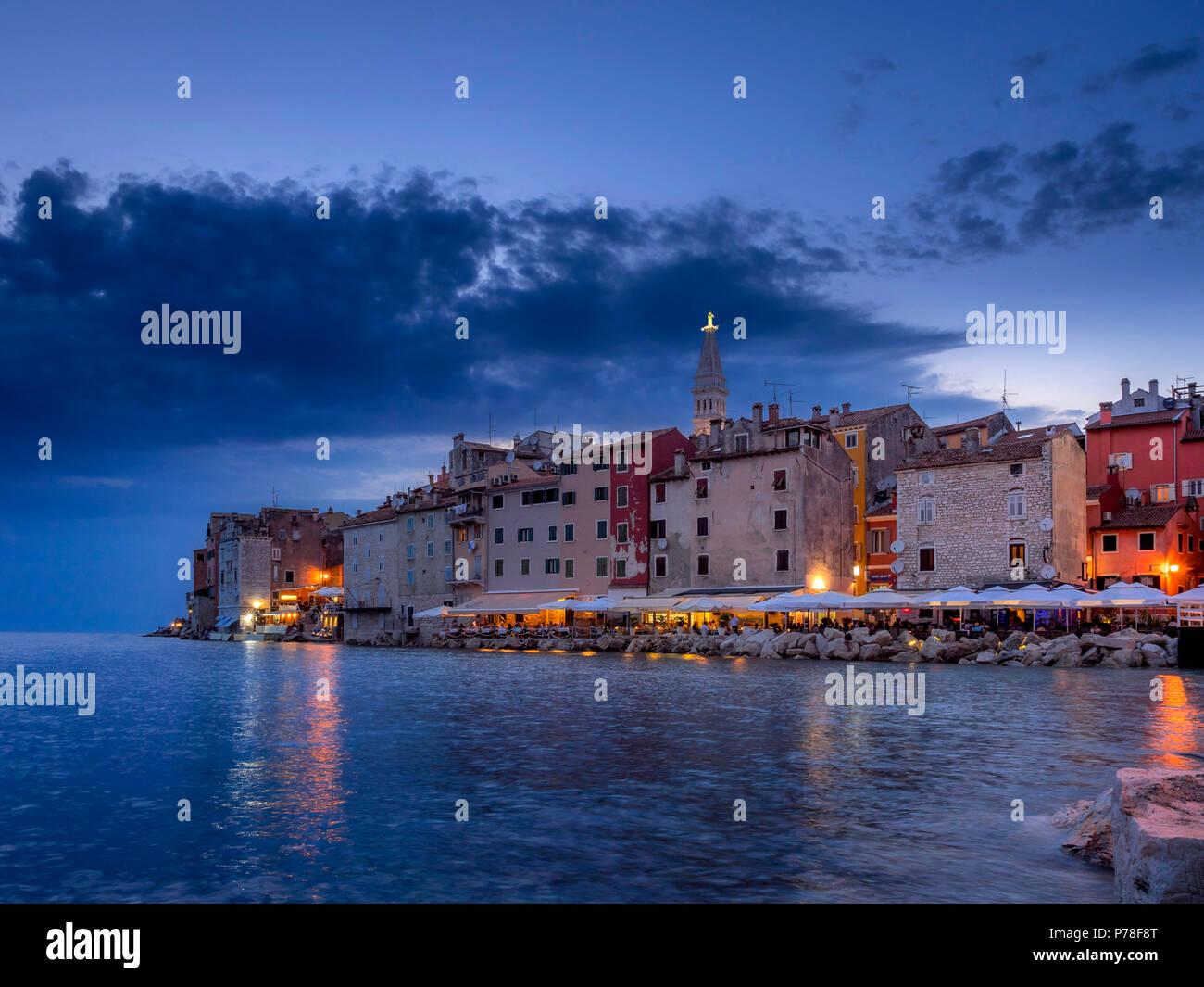 View on Rovinj at night, Istria, Croatia, Europe - Stock Image