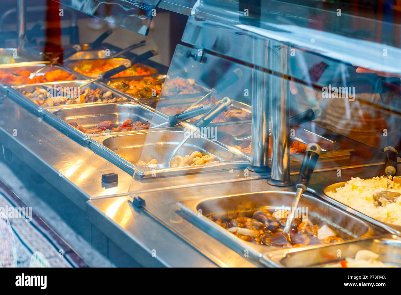 Eat as much as you like Chinese buffet restaurant in London Chinatown - Stock Image
