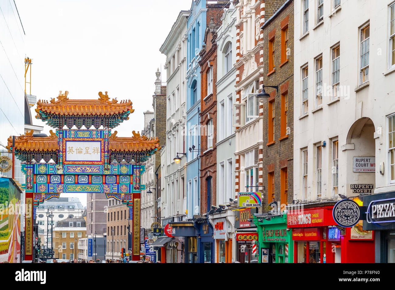 London, UK - June 22, 2018 - London Chinatown features Chinese restaurants, bakeries and souvenir shops in Soho area Stock Photo