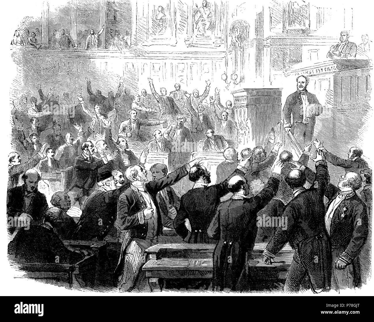 Francia. Declaración de guerra contra Prusia durante la sesión en el senado del 15 de julio de 1870. Grabado de 1870. - Stock Image