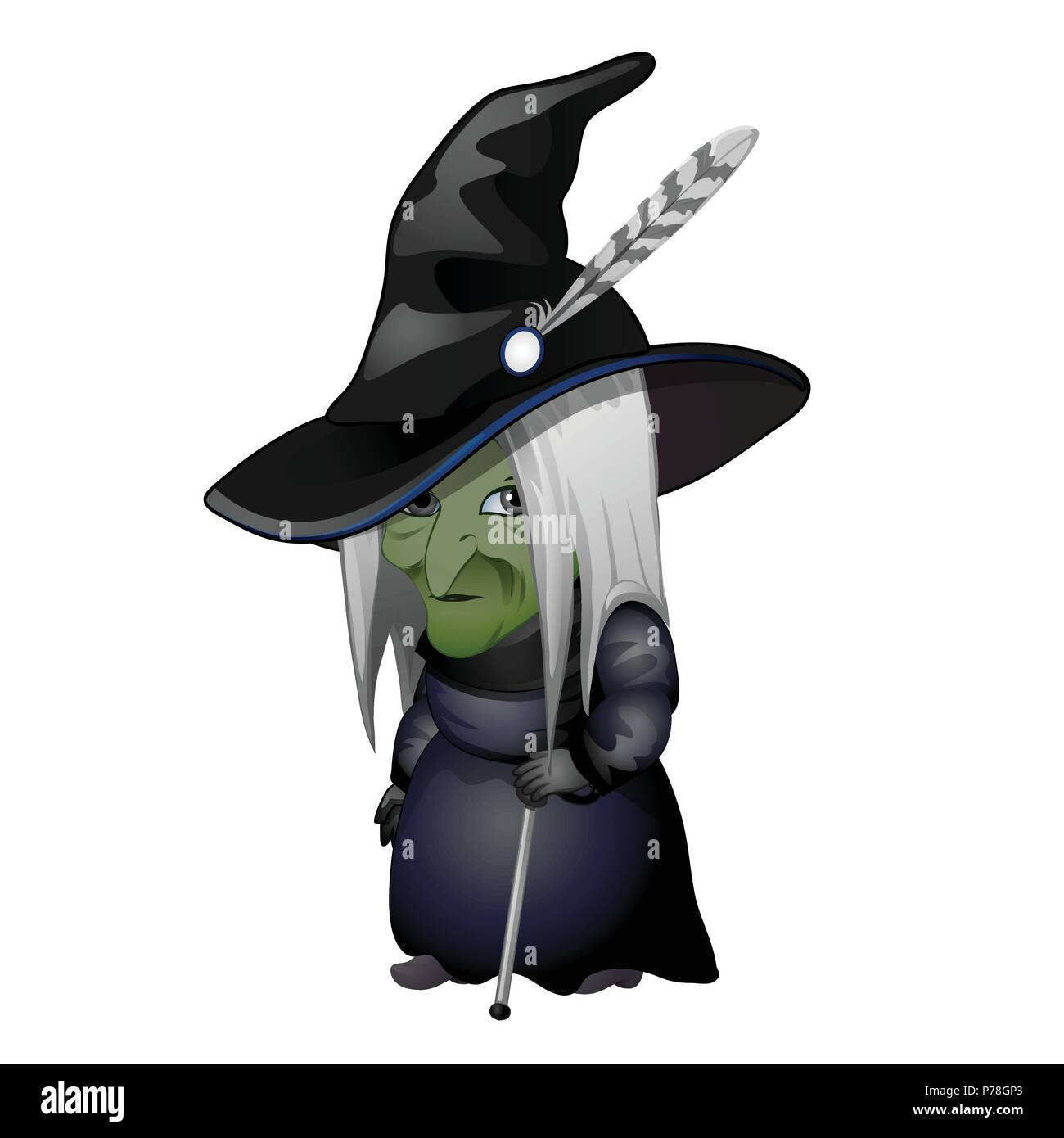 Halloween Cartoon Witch Face.Old Witch With Green Face And Walking Stick Isolated On White