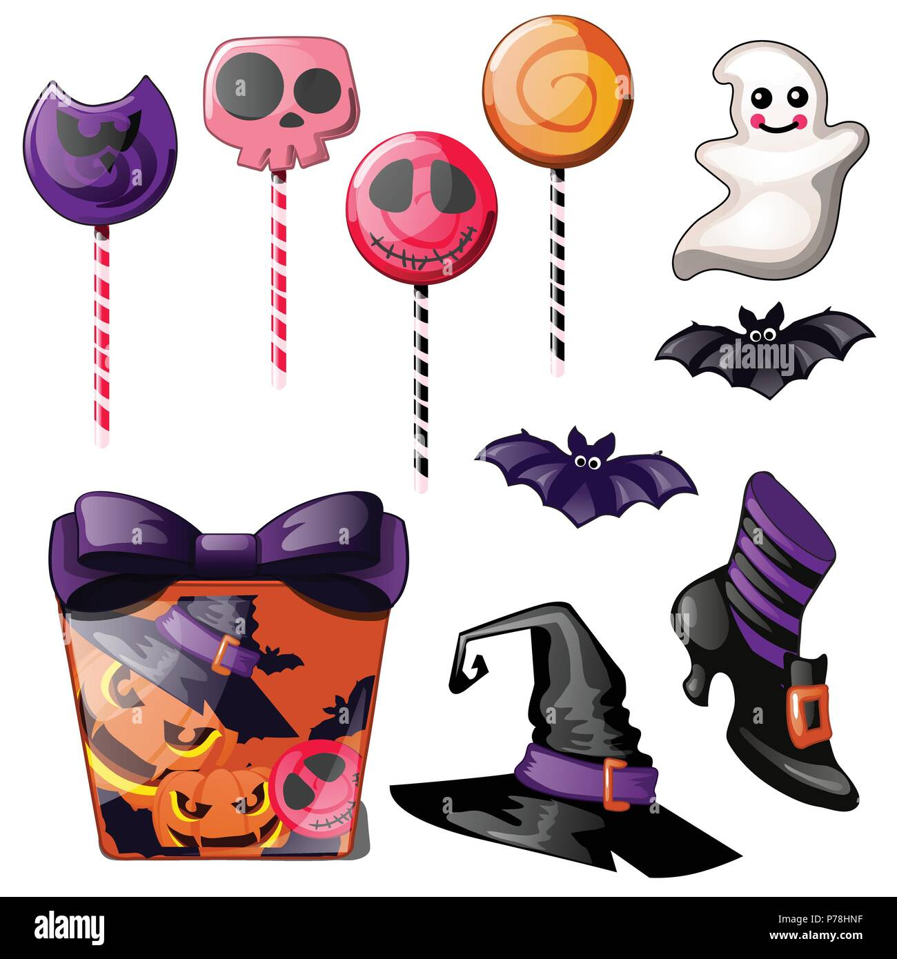 Set of bright candies on stick, Lollipop. Witch hat, Shoe and gift ...