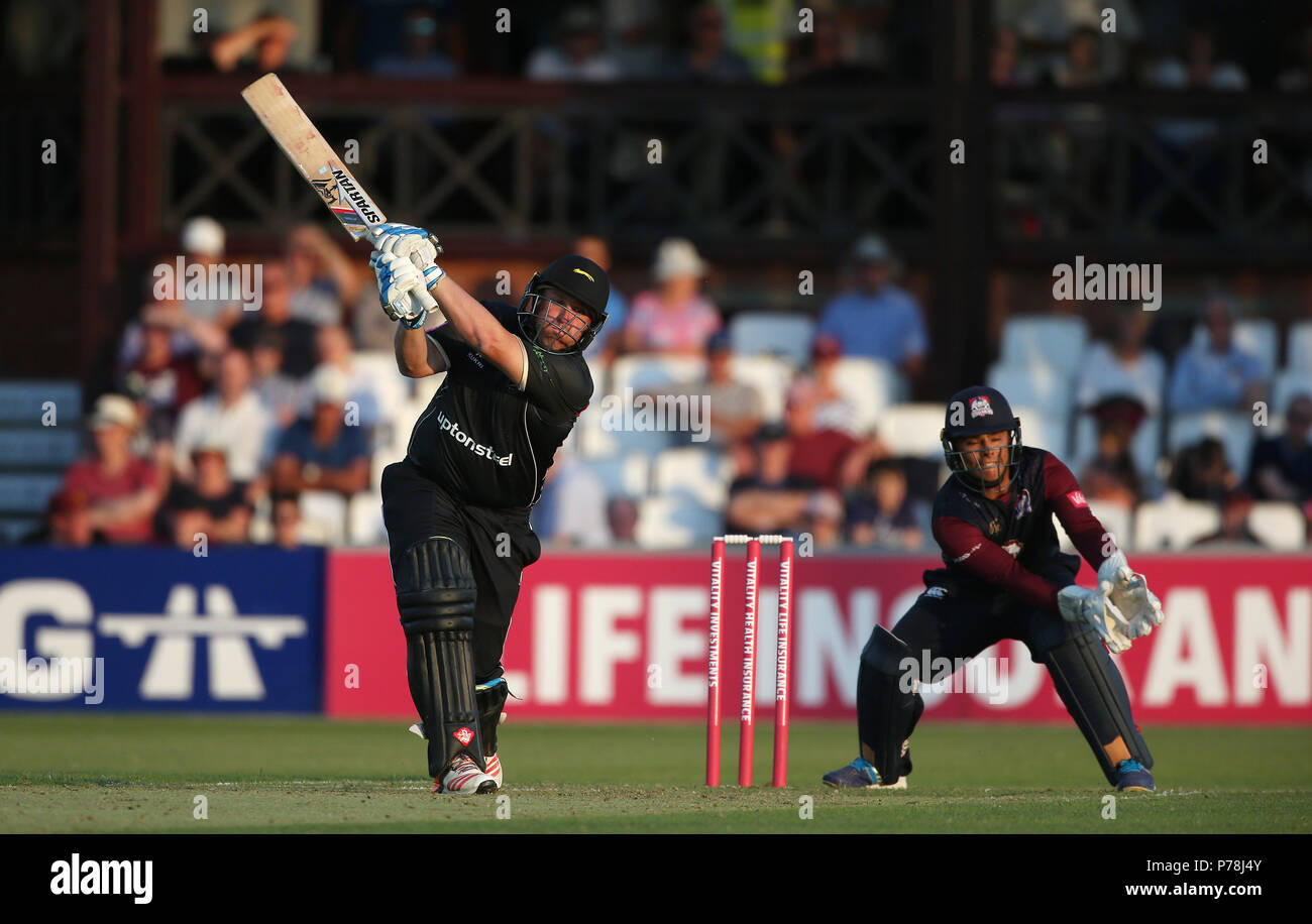 Leicestershire's Mark Cosgrove during the Vitality Blast, north group match at the County Cricket Ground, Northampton. - Stock Image