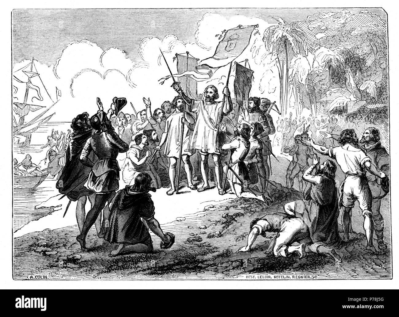 Descubrimiento de América por Cristóbal Colón. Año 1492. Grabado de 1854.
