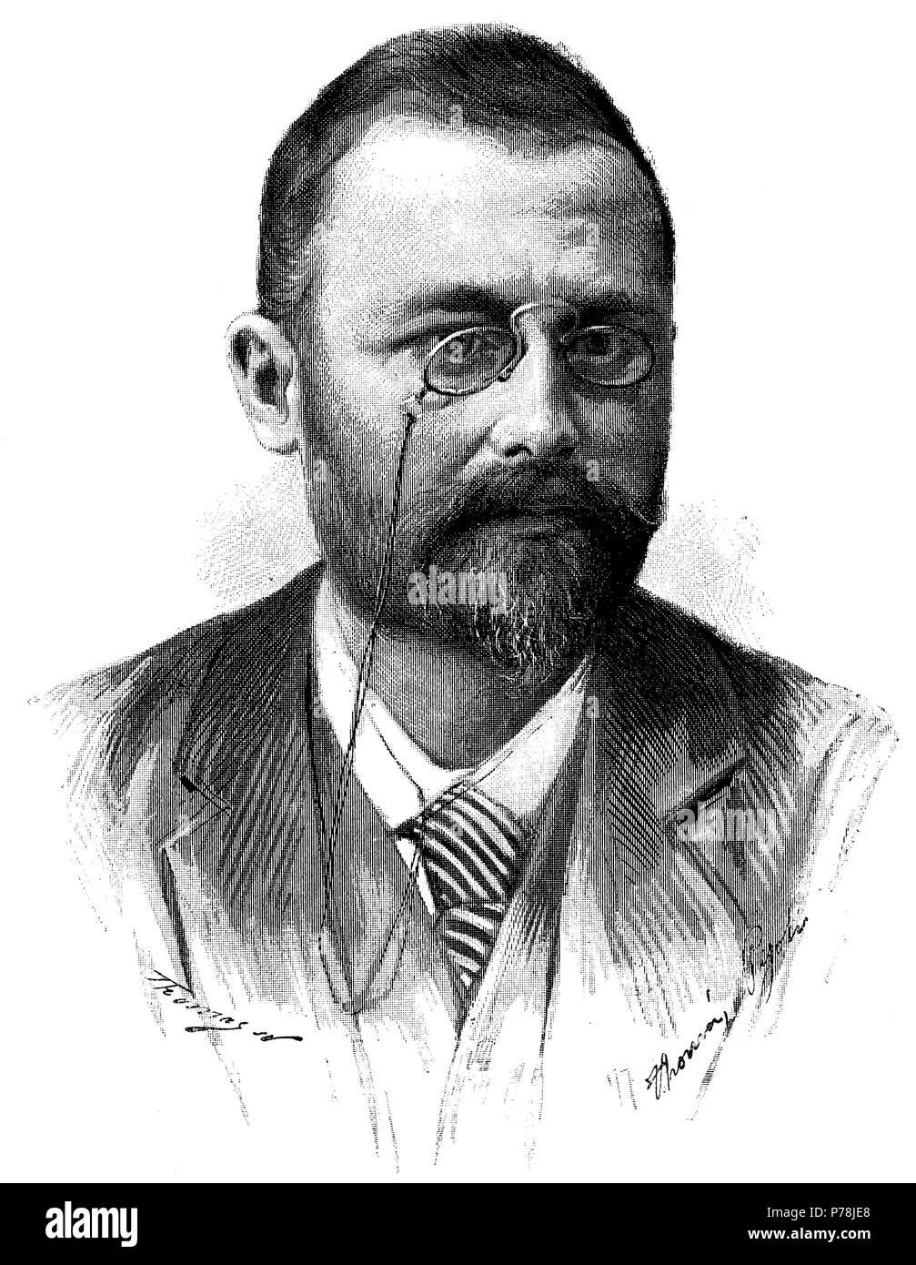 Pau Bertrán Bros (1853-1891), folclorista y poeta catalán. Grabado de 1891. - Stock Image