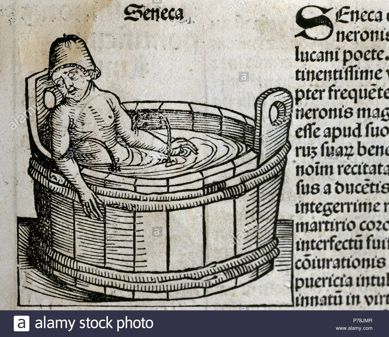 Seneca the Younger (4BC-65AD). Roman Stoic philosopher. Suicide. Engraving by Hatman at Liber Chronicarum. 15th century. - Stock Image