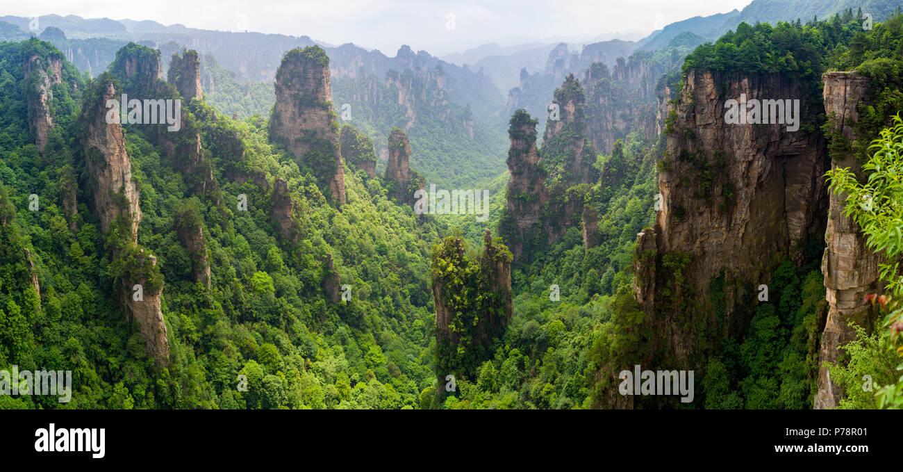 Beautiful panorama of karst mountains in Zhiangjiajie National Park, China Stock Photo