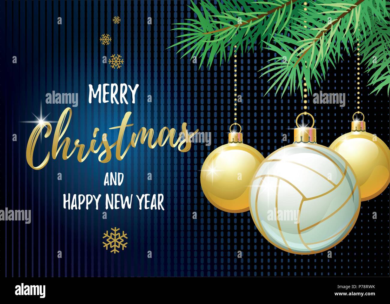Merry Christmas And Happy New Year Sports Greeting Card Volleyball