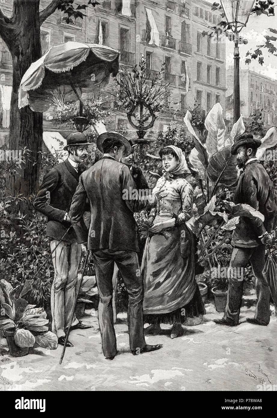 España. Barcelona. Parada de flores en las Ramblas. Grabado de 1884. Stock Photo