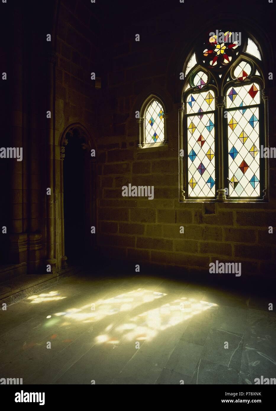 Spain. Catalonia. Barcelona. Chapel of Santa Agueda. Royal Chapel. Built en 1302.  Gothic. Real Mayor Palace. - Stock Image