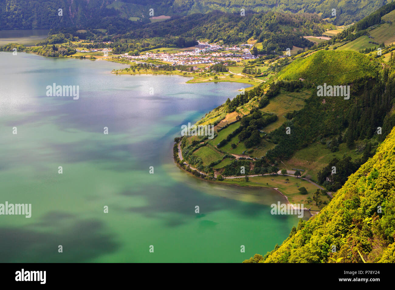 Lagoa das Sete Cidades, twin lakes in Sao Miguel, Azores Stock Photo