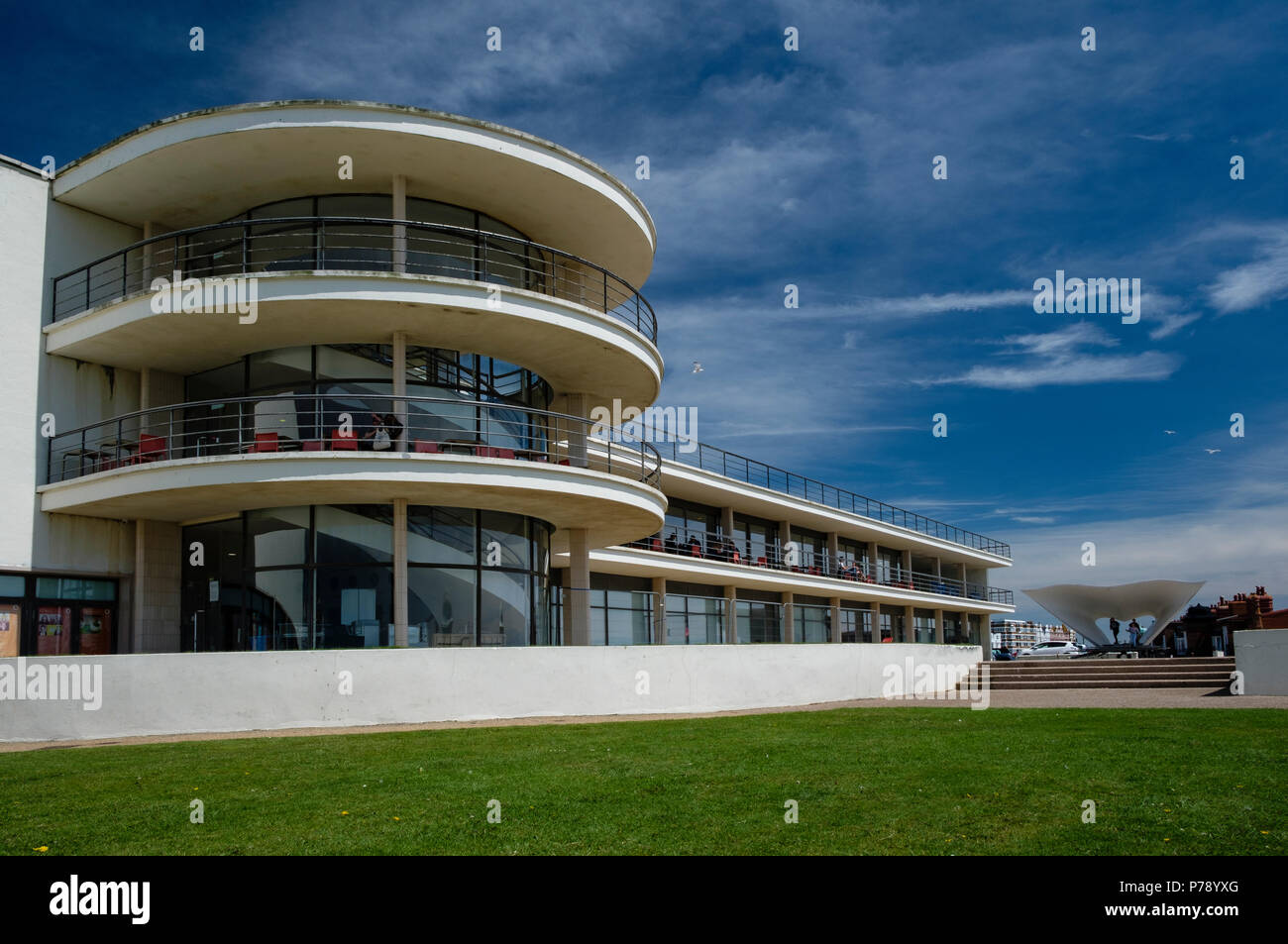 The De La Warr Pavilion at Bexhill-on-Sea, East Sussex was designed in the Modernist style by Erich Mendelsohn and Serge Chermayeff and built in 1935 - Stock Image