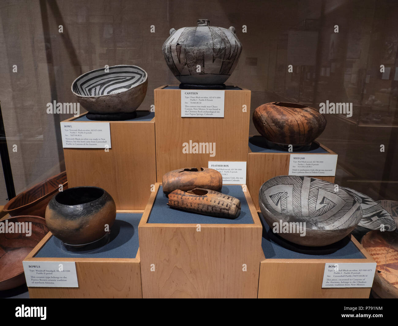Ancestral Puebloan pottery, Anasazi Heritage Center, Dolores, Colorado. - Stock Image