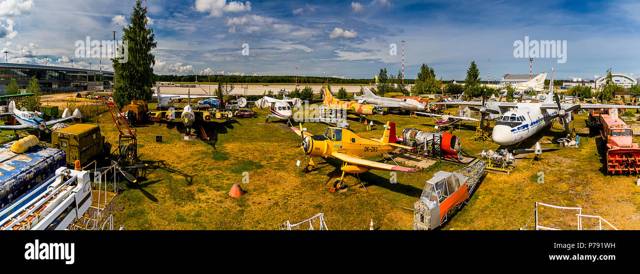 The museum of aircraft at the airport Riga where samples of the Soviet aircraft equipment are presented - Stock Image