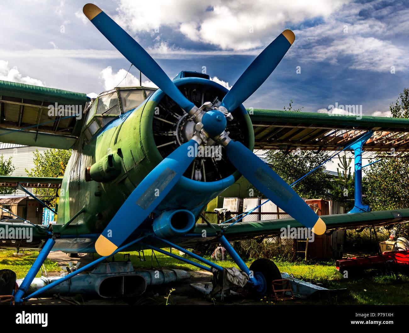 The Antonov An-2 (Russian nickname: 'Annushka' or 'Annie'; 'kukuruznik' - corn crop duster; USAF/DoD reporting name Type 22, NATO reporting name Colt) - Stock Image